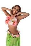 Mooie danser in tropisch kostuum. Stock Afbeelding