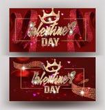 Mooie de Dagbanners van Valentine ` s met zijdelinten met patroon, kronen en kaders royalty-vrije illustratie