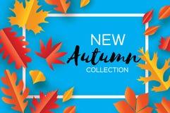 Mooie de Herfstdocument besnoeiingsbladeren Hello-de herfst September-vliegermalplaatje Rechthoekkader Ruimte voor tekst Origami Stock Fotografie
