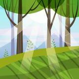 Mooie de Lente bosbomen, groen gebladerte, landschap, struiken, silhouetten van boomstammen, horizon Stralen van zonlicht royalty-vrije illustratie