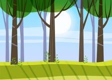 Mooie de Lente bosbomen, groen gebladerte, landschap, struiken, silhouetten van boomstammen, horizon Vector minimale stijl vector illustratie