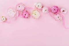 Mooie de lentebloem op roze bureau van hierboven voor huwelijksmodel of groetkaart op de dag van de vrouw De bloemengrens in vlak Stock Afbeelding