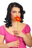 Mooie de lentevrouw met gerber royalty-vrije stock foto's