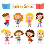 Mooie de meisjestribune van de kleuren vectorreeks met boeken, zak en rugzak Stock Foto's