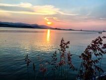 Mooie de meningsachtergrond van het zonsondergangstrand van Koh Samui Thailand Stock Afbeelding
