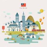 Mooie de reiskaart van Taiwan royalty-vrije illustratie