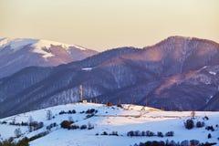Mooie de winter panoramische luchtmening van alpen Stock Foto