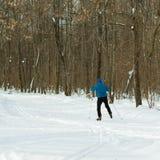 Mooie de winterbos en skiër in een blauw kostuum Royalty-vrije Stock Afbeeldingen