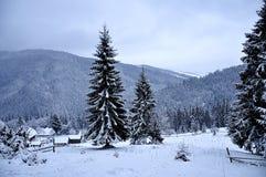 Mooie de winterdag in bergen stock afbeelding