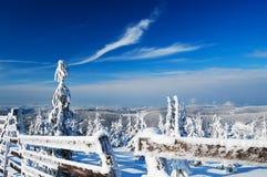 Mooie de winterdag in bergen Stock Foto's