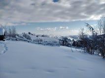 Mooie de winterlandschappen met bergen en sneeuw-geladen bomen in het dorp van Parva, Roemenië, Transsylvanië stock fotografie