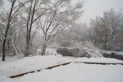 Mooie de winterscène op Yauza-rivier royalty-vrije stock foto's