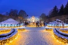 Mooie de winterverlichting bij het Park Oliwski in Gdansk, Polen Stock Foto