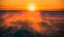 Mooie de winterzonsondergang Royalty-vrije Stock Afbeelding