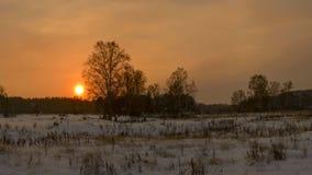 Mooie de winterzonsondergang met Royalty-vrije Stock Afbeeldingen