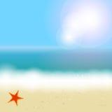Mooie de zomerachtergrond met strand, overzees, zon vector illustratie
