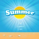 Mooie de zomerdekking met de affiche van het zonzonlicht stock illustratie
