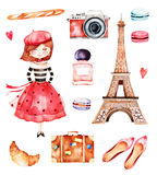 Mooie de zomerinzameling met de toren van Eiffel royalty-vrije illustratie