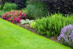 Mooie, de zomertuin met rode rozen en diverse installaties Stock Afbeelding