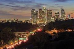 Mooie de zonsondergangmening van de binnenstad van Los Angeles Stock Foto's
