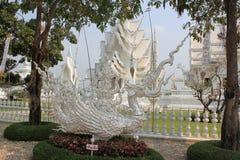 Mooie Decoratie bij Wat Rong Khun of Witte Tempel, een contemp Stock Foto