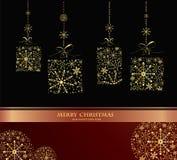 Mooie decoratieve glanzende Kerstmisballen Royalty-vrije Stock Afbeeldingen