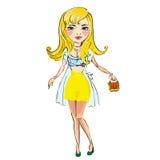 Mooie die blondevrouw, op een wit wordt geïsoleerd Royalty-vrije Stock Afbeelding