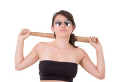 Mooie die dame met een honkbalknuppel, op wit wordt geïsoleerd Stock Afbeelding