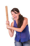 Mooie die dame met een honkbalknuppel, op wit wordt geïsoleerd Stock Foto