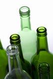 mooie die flessen in een lijn worden geplaatst Stock Foto
