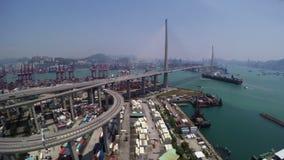 Mooie die 4K Antenne van Hong Kong Container Port Area wordt geschoten stock video