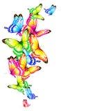 Mooie die kleurenvlinders, reeks, op een wit wordt geïsoleerd Royalty-vrije Stock Fotografie