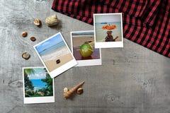 Mooie die kustmomentopnamen op rustieke houten achtergrond met rond zeeschelpen worden geschikt Stock Afbeelding