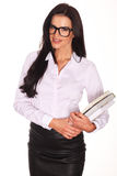 Mooie die leraar With Books, op witte achtergrond wordt geïsoleerd Stock Fotografie