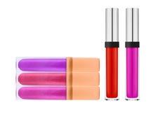 Mooie die lipglossen, op wit worden geïsoleerd Stock Afbeeldingen