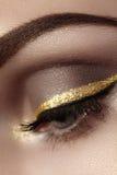 Mooie die macro van vrouwelijk oog met plechtige make-up wordt geschoten Perfecte vorm van wenkbrauwen, eyeliner en vrij gouden l Royalty-vrije Stock Foto's