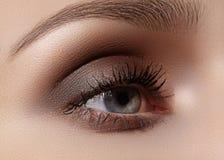 Mooie die macro van vrouwelijk oog met rokerige make-up wordt geschoten Perfecte vorm van wenkbrauwen Stock Afbeeldingen