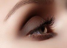 Mooie die macro van vrouwelijk oog met rokerige make-up wordt geschoten Perfecte vorm van wenkbrauwen Royalty-vrije Stock Fotografie