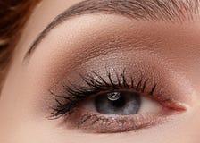 Mooie die macro van vrouwelijk oog met rokerige make-up wordt geschoten Perfecte vorm van wenkbrauwen Royalty-vrije Stock Foto