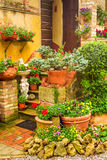 Mooie die portiek met bloemen in het platteland wordt verfraaid Royalty-vrije Stock Foto's