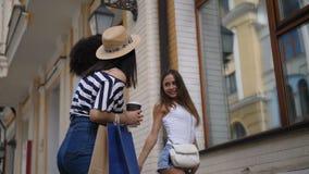 Mooie diverse meisjes die pret het winkelen hebben stock footage