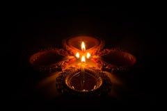 Mooie Diwali Candels Stock Afbeeldingen