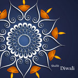 Mooie diya decoratie blauwe kleurrijke achtergrond van Diwali Stock Afbeeldingen