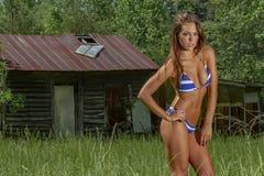 Mooie Donkerbruine Bikini Modelposing outdoors in een Landelijk Milieu stock foto's