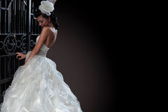 Mooie donkerbruine bruid op zwarte achtergrond Stock Fotografie