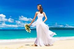 Mooie donkerbruine bruid in witte huwelijkskleding met grote lang wh Royalty-vrije Stock Afbeeldingen