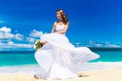 Mooie donkerbruine bruid in witte huwelijkskleding met grote lang wh Royalty-vrije Stock Foto