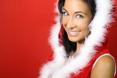 Mooie donkerbruine gelukkig voor Kerstmis Royalty-vrije Stock Fotografie