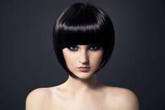 Mooie Donkerbruine Girl.Healthy Hair.Hairstyle. Royalty-vrije Stock Foto