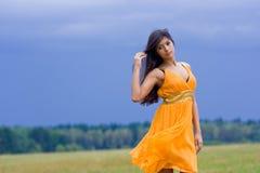 Mooie donkerbruine jonge vrouw stock afbeeldingen